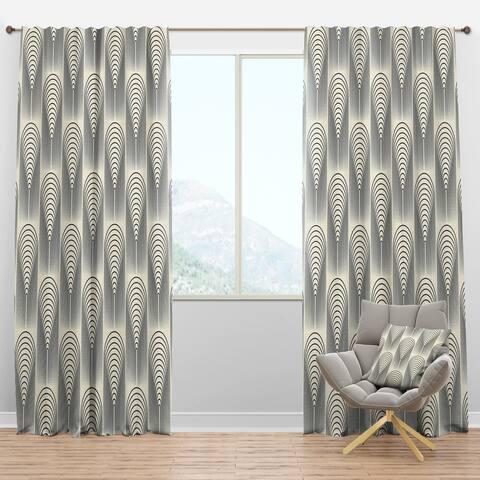 Designart 'Retro conical geometry' Mid-Century Modern Blackout Curtain Panel