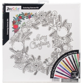 """Adult Holiday Coloring Canvas 12""""X12"""" W/12 Markers-Christmas Wreath"""