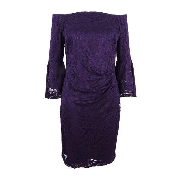 0583f16d Lauren by Ralph Lauren Women's Petite Off-The-Shoulder Lace Dress (0P,  Purple) - Purple - 0P