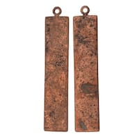 Vintaj Artisan Copper, Rectangle Pendant Blank 23 Gauge Thick 41x8mm, 2 Pieces