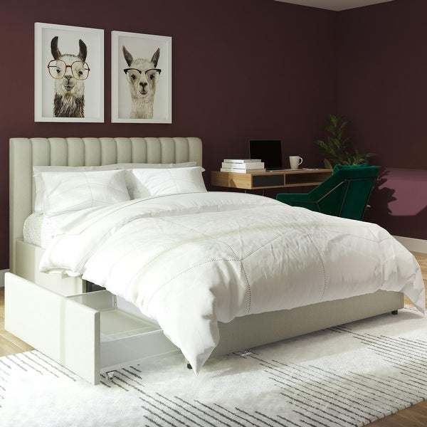 Novogratz Brittany Upholstered Bed with Storage Drawers. Opens flyout.