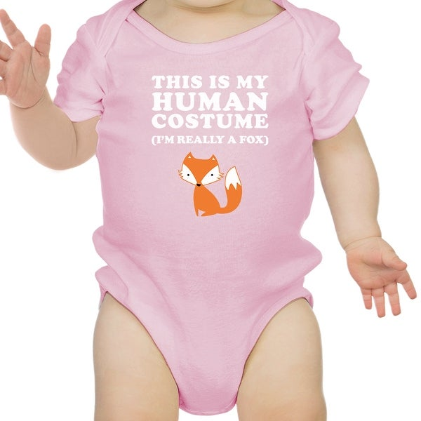 This IS My Human Costume Halloween Baby Bodysuit Funny Infant Bodysuit - Pink