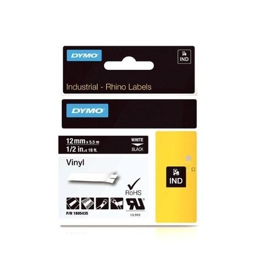 Dymo 1805435 Industrial Rhino Black Vinyl Tape - White On Black