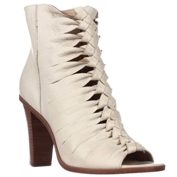 8a65b102f7d Shop FRYE Sofia Braided Peep-Toe Gladiator Booties, Off White - Free ...