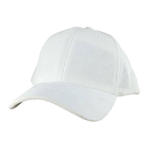 Corduroy Mid Crown Curved Visor Hook-and-Loop Fastener Adjustable Cap Hat -  White