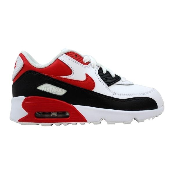 on sale 0b244 e9615 Nike Air Max 90 Leather White University Red-Black Pre-School 833414-