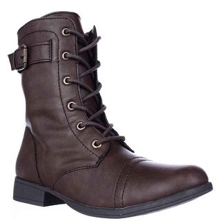AR35 Faylln Lace Up Combat Boots - Brown