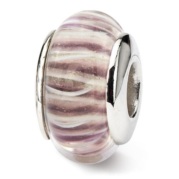Sterling Silver Reflections Rose Striped Hand-blown Glass Bead (4mm Diameter Hole)