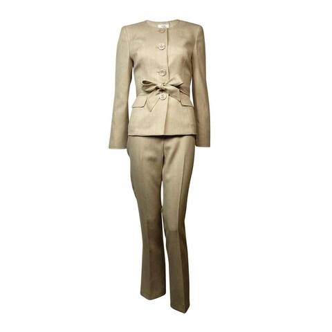 Le Suit Women's Belted Scoop Neck Four Button Woven Pant Suit - Light Khaki