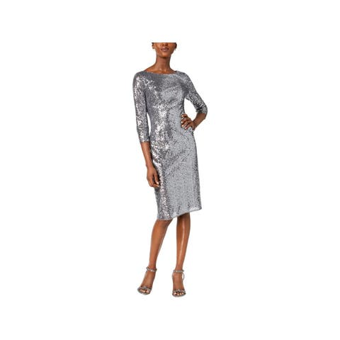 Adrianna Papell Womens Petites Cocktail Dress Sequined Party