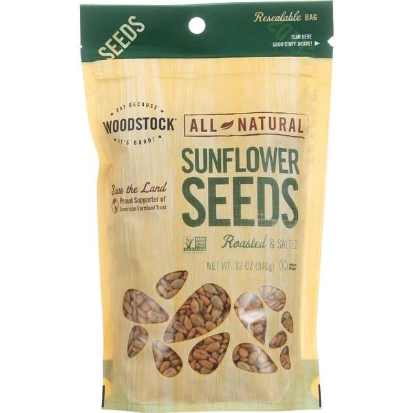 Woodstock Sunflower Seeds - Roasted - Salted - Case of 8 - 12 oz.