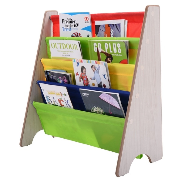 Costway Kids Sling BookShelf Storage Rack Organizer Bookcase Display Holder Natural