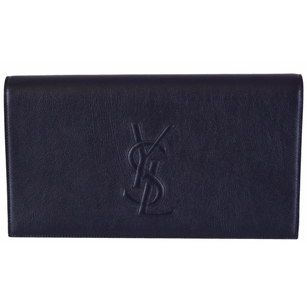 "Saint Laurent YSL 361120 Blue Leather Large Belle de Jour Clutch Handbag - 11"" x 6"" x 2"""
