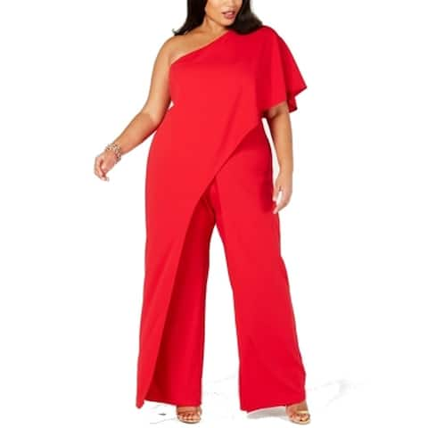 Adrianna Papell Women's Jumpsuit Red Size 18W Plus One Shoulder