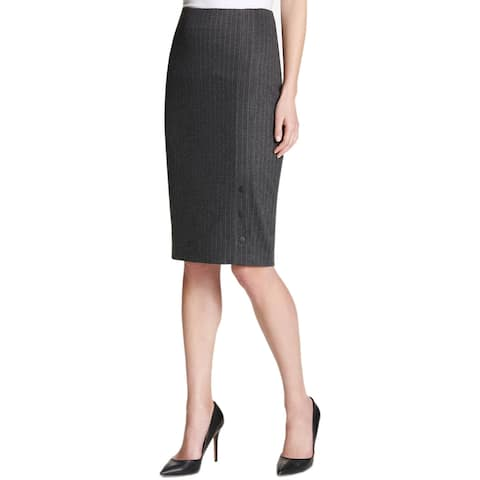 Tommy Hilfiger Pinstriped Pencil Skirt Charcoal/Ivory