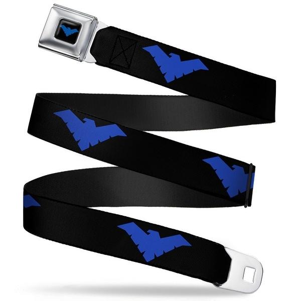 Nightwing Logo Full Color Black Blue Nightwing Logo Black Blue Webbing Seatbelt Belt