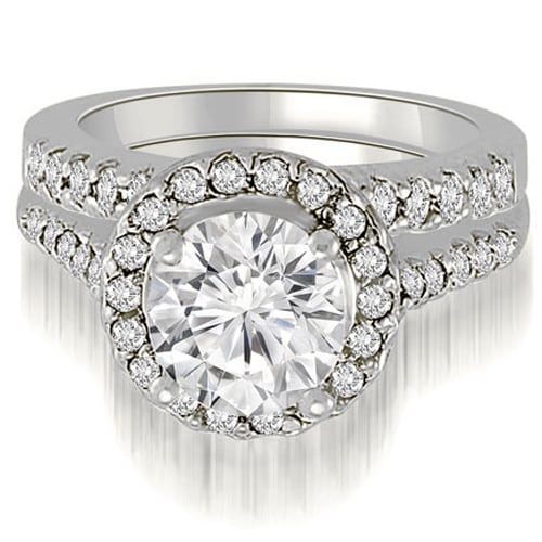 1.42 cttw. 14K White Gold Halo Round Cut Diamond Bridal Set