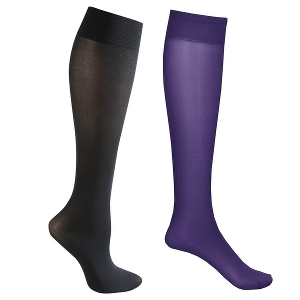 Mild Support 2 Pair Knee High Trouser Socks with 8-15 mmHg Compression - Purple/Black - Medium
