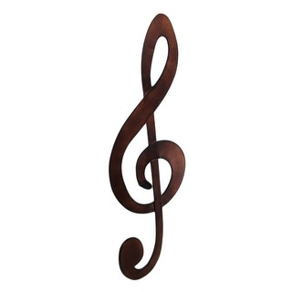 Bronze Finished Metal Treble Clef Music Note Wall Hanging