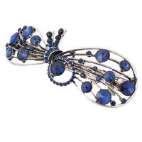 Women Metal Hollow Bowknot Adorn Shining Rhinestone Welt Hair Clip Barrette Blue