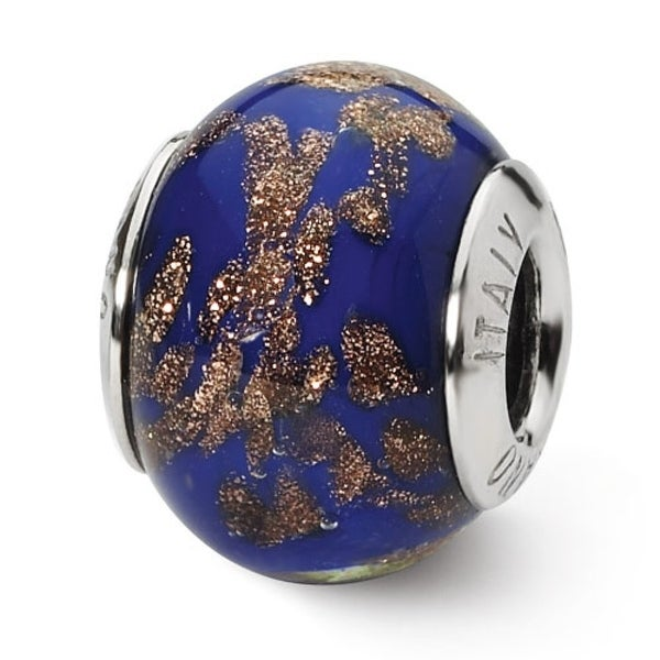 Italian Sterling Silver Reflections Blue/Gold Bead (4mm Diameter Hole)
