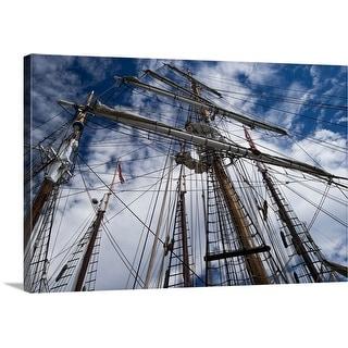"""""""Low angle view of mast of sailboat, Dana Point Harbor, Dana Point, California"""" Canvas Wall Art"""