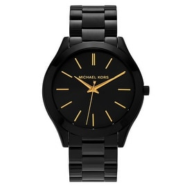 Michael Kors Women's 'Runway' MK3221 Black Ion-plated Black Dial Bracelet Watch