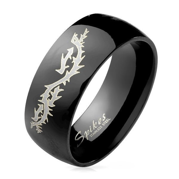 Flying Dragon Engraved Black Dome Stainless Steel Ring (Sold Ind.)