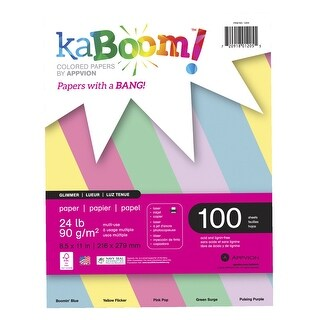 Kaboom Dynamite Copy Paper, 8-1/2 x 11 Inches, Glimmer Pastel, 100 Sheets