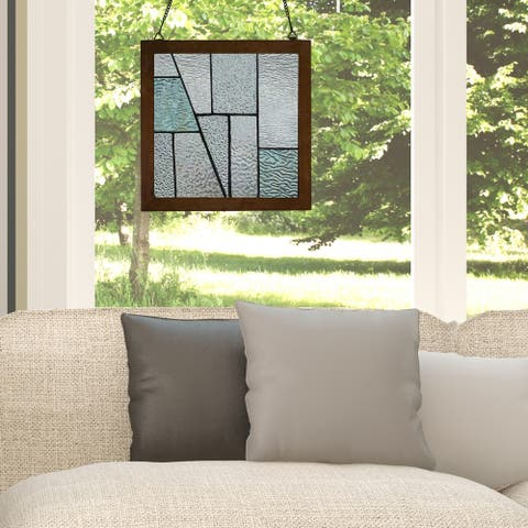 """River of Goods 10""""H Aqua Lagoon Wood Framed Stained Glass Window Panel"""