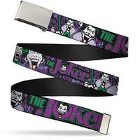 "Blank Chrome 1.0"" Buckle Joker Face Logo Spades Black Green Purple Webbing Web Belt 1.0"" Wide - S"