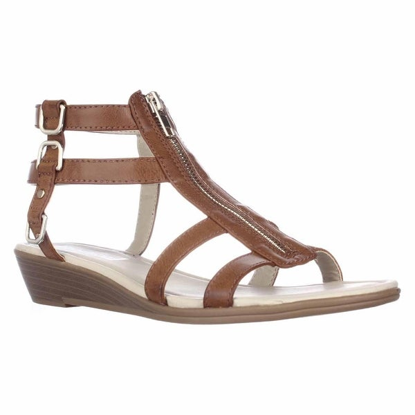 Rialto Gracia Front Zip Gladiator Sandals - Cognac/Burn, 8.5 US