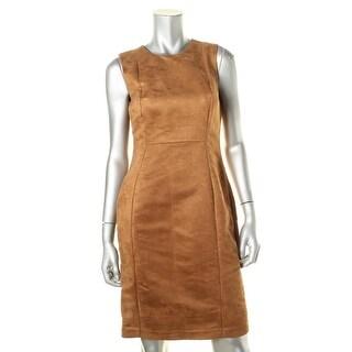 Calvin Klein Womens Lined Faux Suede Wear to Work Dress - 4