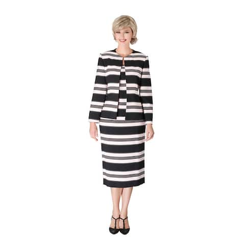 Giovanna Signature 3pc Collarless Hook&Eye Skirt Suit w/ Pockets