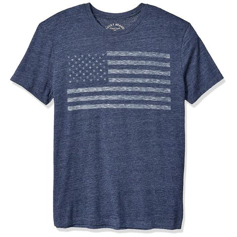 Lucky Brand Mens Blue Size Medium M American Flag Graphic Tee Shirt
