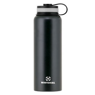 Winterial 40 oz Stainless Steel Insulated Double Walled Wide Mouth HOT & COLD Premium Water Bottle (Black)