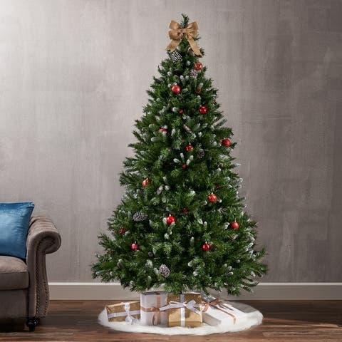 7-ft Spruce Pre-Lit or Unlit Hinged Artificial Christmas Tree with Frosted Branches Berries Pinecones by Christopher Knight Home