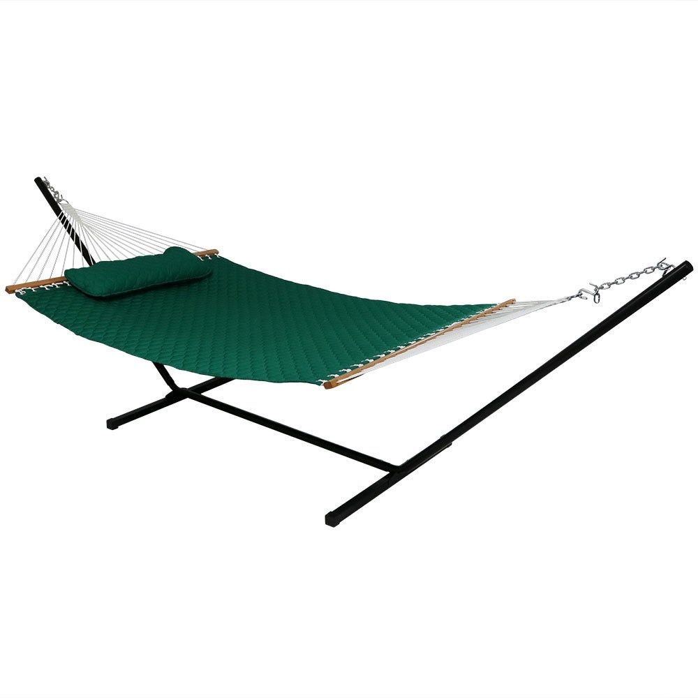 Sunnydaze Quilted Double Fabric 2-Person Hammock & Hammock Stand - Thumbnail 5