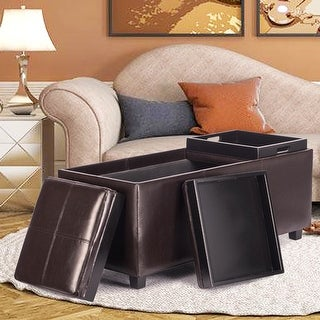 Costway PU Leather Rectangular Storage Bench Ottoman with 3 Serving Trays Brown