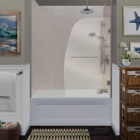 """Miseno MSDCFL3458 58"""" High x 34"""" Wide Frameless Pivoting Tub Screen with Clear 1/4"""" Glass and H2OFF Technology"""