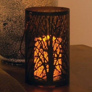 Smart Solar 84040-LC Arboretum 8 in. H Metal Cylinder Lantern with Tree Pattern in Antique Black finish