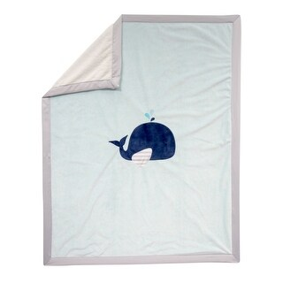 Lambs & Ivy Minky Blanket - Whale - Blue, Gray, Animals, Whale, Boy