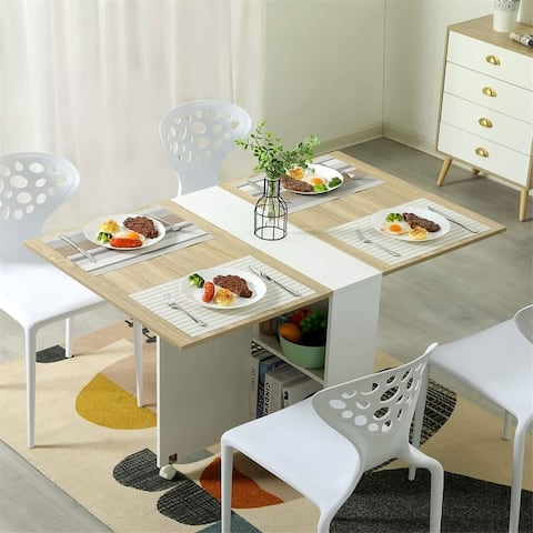 Folding Dining Table, Versatile Dinner Table with 6 Wheels and 2 Storage Racks, Space Saving Kitchen Table Dining Room Table