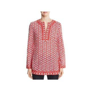 Tory Burch Womens Jayne Tunic Top Sequined Embroidered