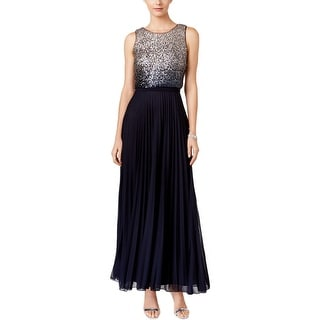 Betsy & Adam Womens Evening Dress Ombre Sequined Popover