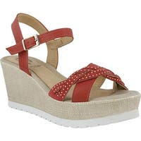 Spring Step Women's Uribia Wedge Sandal Coral Leather
