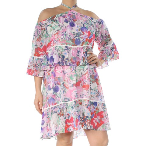 RACHEL ROY Womens Pink Cold Shoulder Printed 3/4 Sleeve Grecian Neckline Above The Knee Blouson Cocktail Dress Size: 2