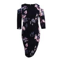 JAX Women's Floral-Print Cold-Shoulder Dress (8, Black Multi) - Black Multi - 8
