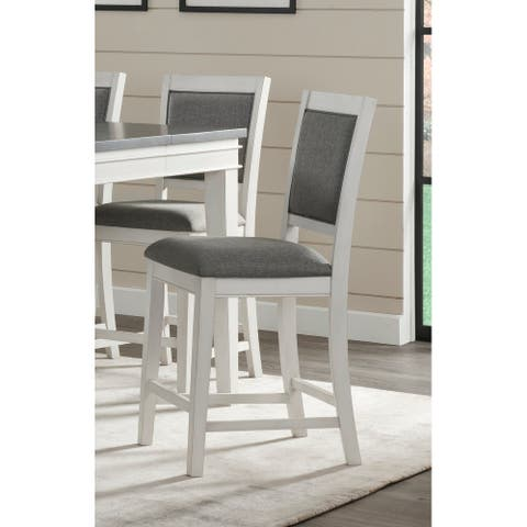 Del Mar Pub Height Chair (Set of 2), White with Grey Linen