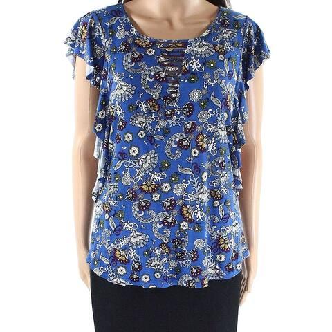 Bobeau Blue Womens Size Large L Paisley Ruffle Sleeves Knit Top
